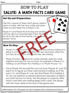 image about Math Fact Fluency Games Printable called Salute: A Outstanding Math Real truth Card Video game for Tempo and