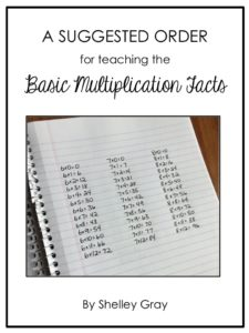 A suggested order for teaching the basic multiplication facts. Order matters!