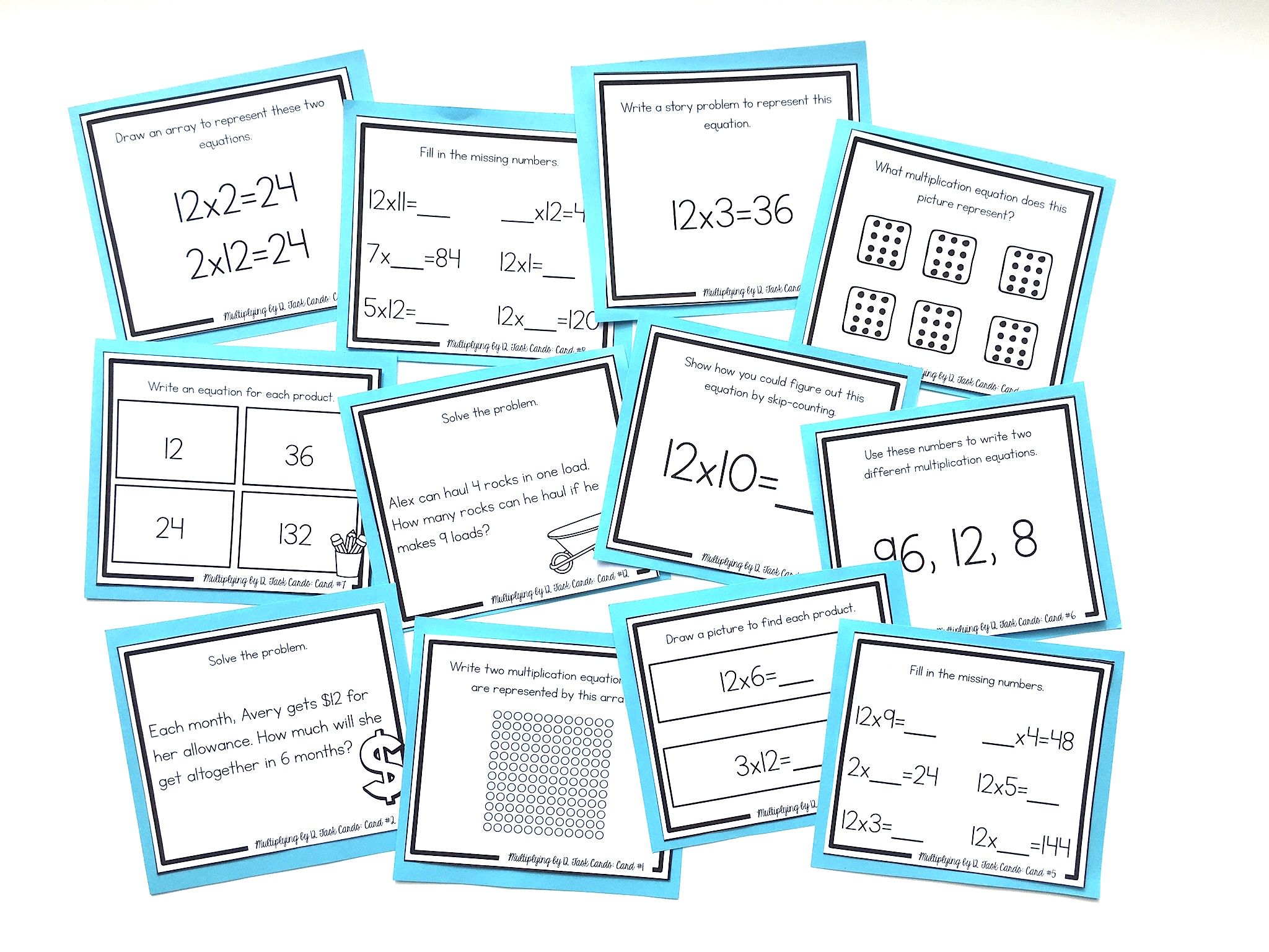 multiplying by 12 task cards
