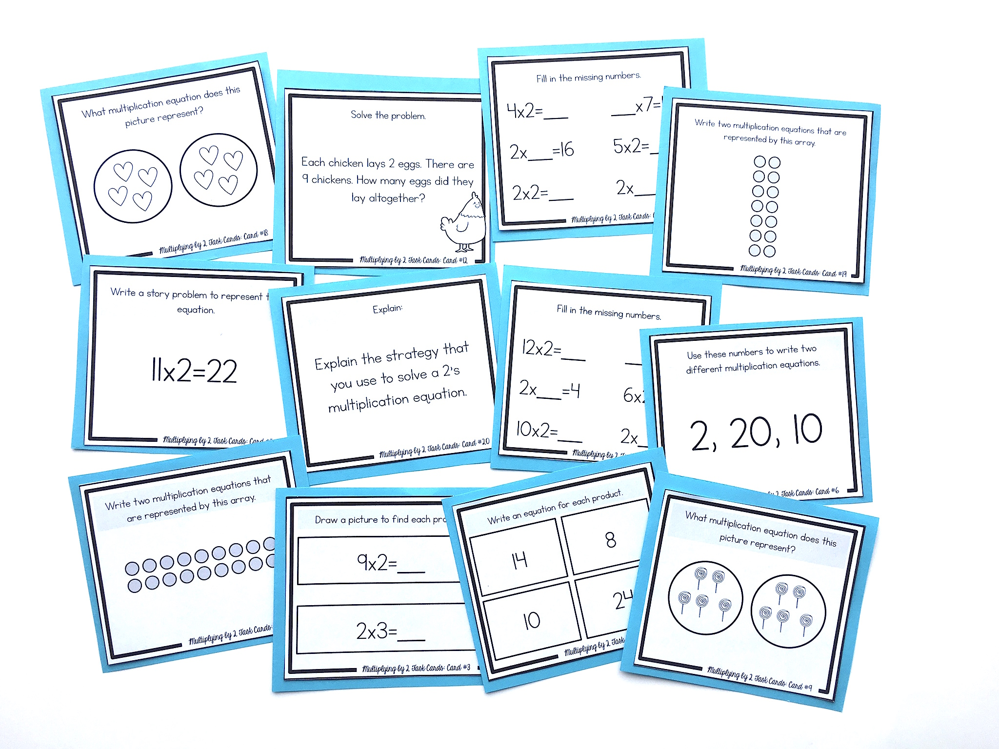 task cards for multiplying by 2