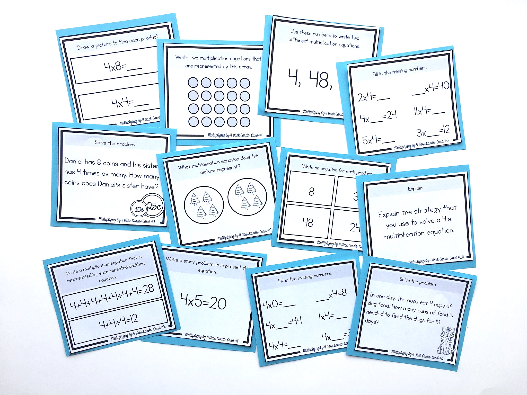 task cards for multiplying by 4