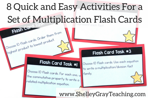 8 quick and easy activities for a set of multiplication flashcards with free printables included