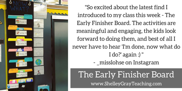 early finisher board samples from teachers