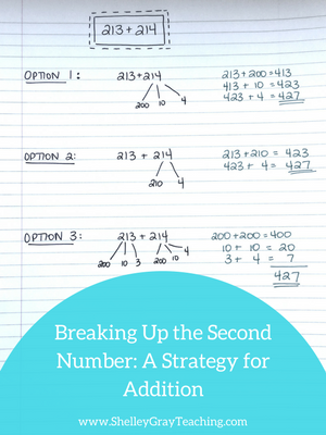 breaking up the second number addition strategy
