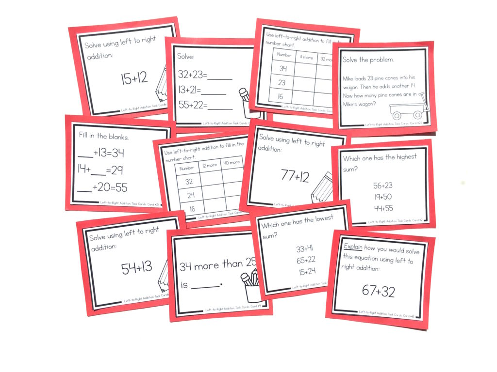 left to right addition task cards