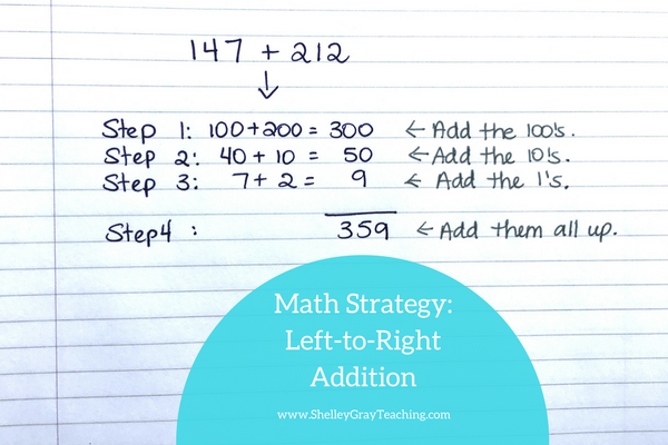 left to right addition mental math addition strategy