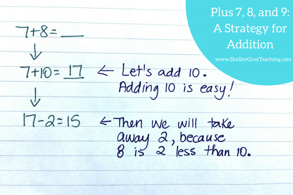 addition strategy: adding 7, 8 and 9